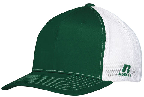 Russell R02TMB Youth Flexfit Twill Mesh Cap - Dark Green White - HIT A Double