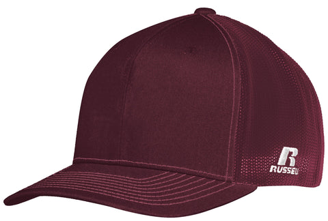 Russell R02TMB Youth Flexfit Twill Mesh Cap - Maroon - HIT A Double