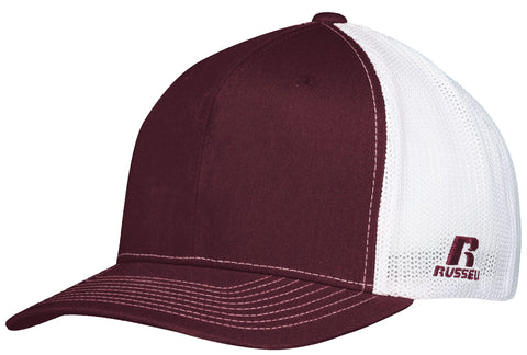 Russell R02TMB Youth Flexfit Twill Mesh Cap - Maroon White - HIT A Double