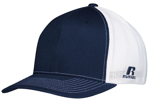 Russell R02TMB Youth Flexfit Twill Mesh Cap - Navy White - HIT A Double