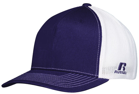 Russell R02TMB Youth Flexfit Twill Mesh Cap - Purple White - HIT A Double