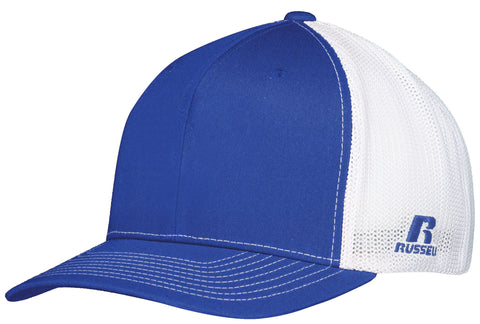 Russell R02TMB Youth Flexfit Twill Mesh Cap - Royal White - HIT A Double