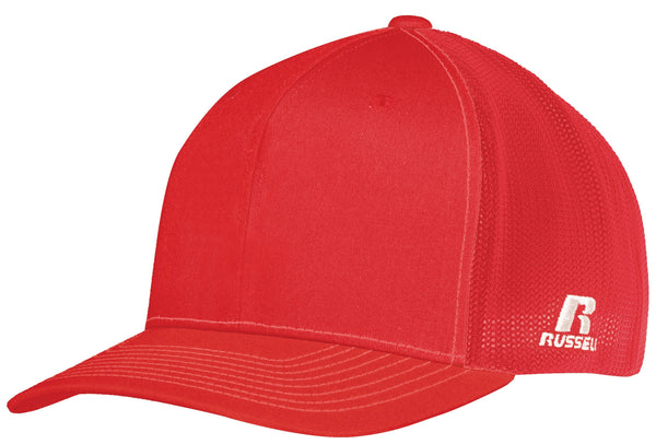 Russell R02TMB Youth Flexfit Twill Mesh Cap - True Red - HIT A Double