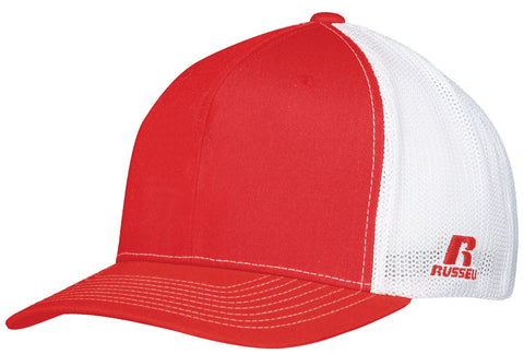 Russell R02TMB Youth Flexfit Twill Mesh Cap - True Red White - HIT A Double