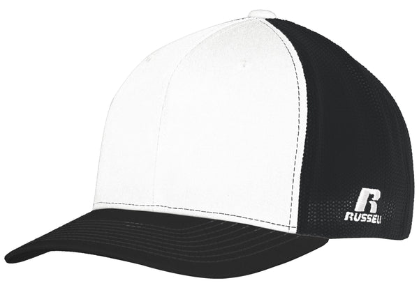 Russell R02TMB Youth Flexfit Twill Mesh Cap - White Black - HIT A Double