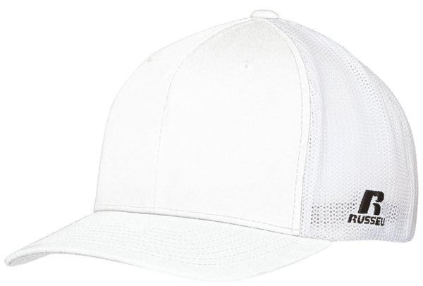 Russell R02TMB Youth Flexfit Twill Mesh Cap - White - HIT A Double