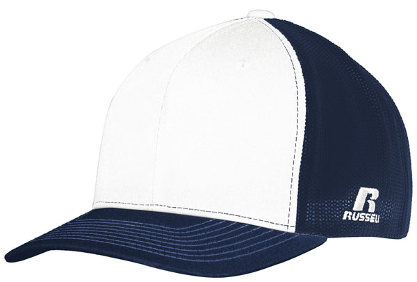 Russell R02TMB Youth Flexfit Twill Mesh Cap - White Navy - HIT A Double