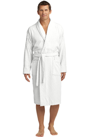Port Authority R103 Checkered Terry Shawl Collar Robe - White