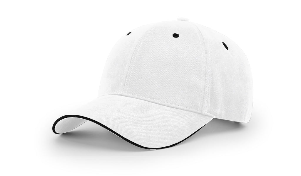 Richardson R78 Casual Sandwich Visor Cap - White Black
