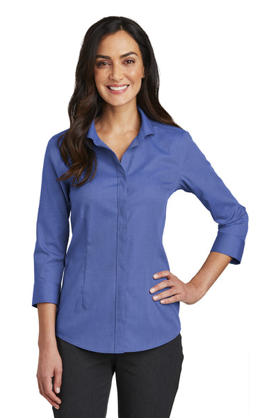 Red House RH690 Ladies 3/4-Sleeve Nailhead Non-Iron Shirt - Mediterranean Blue - HIT A Double