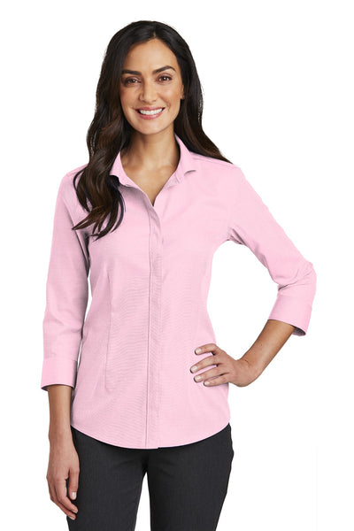 Red House RH690 Ladies 3/4-Sleeve Nailhead Non-Iron Shirt - Pink - HIT A Double