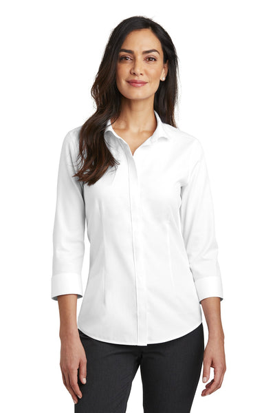 Red House RH690 Ladies 3/4-Sleeve Nailhead Non-Iron Shirt - White - HIT A Double