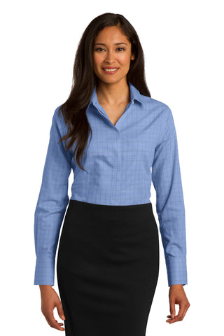 Red House RH71 Ladies Windowpane Plaid Non-Iron Shirt - Blue - HIT A Double