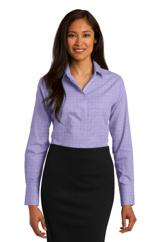 Red House RH71 Ladies Windowpane Plaid Non-Iron Shirt - Thistle Purple - HIT A Double
