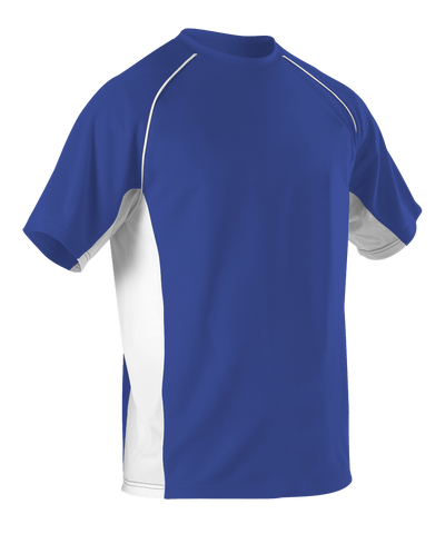 Alleson 506C1Y Youth Baseball Jersey Crew Neck - Royal White - Baseball Apparel - Hit A Double