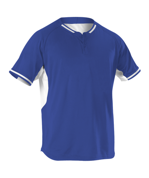Alleson 524PD Adult 2 Button Baseball Jersey - Royal White