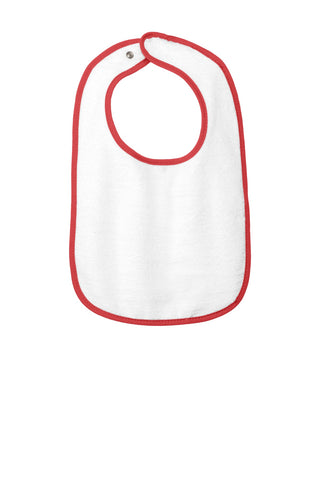 Rabbit Skins 1003 Infant Contrast Trim Terry Bib - Red - HIT A Double