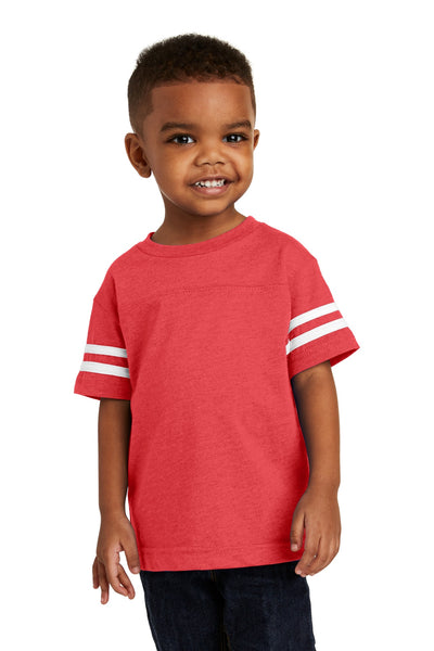 Rabbit Skins 3037 Toddler Football Fine Jersey Tee - Vintage Red Blended White - HIT A Double