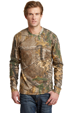 Russell Outdoors S020R Realtree Long Sleeve Explorer 100% Cotton T-Shirt with Pocket - Realtree Xtra - HIT A Double