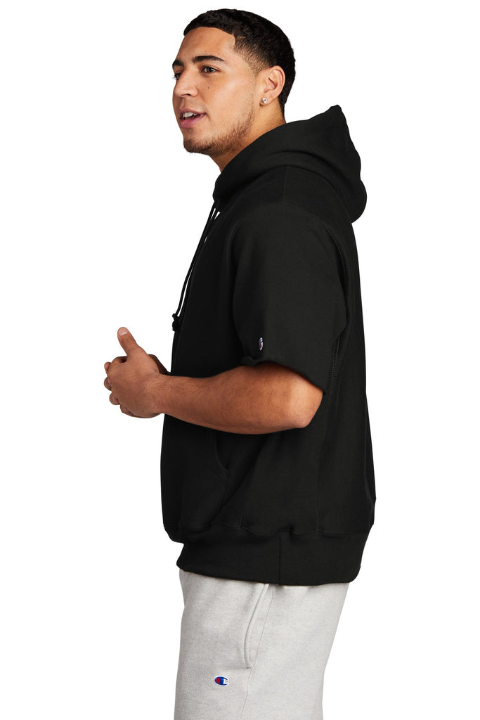 Champion S101SS Reverse Weave Short Sleeve Hooded Sweatshirt - Black - HIT A Double