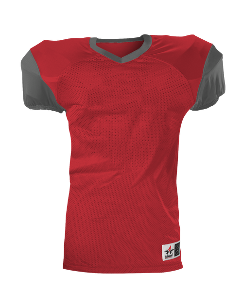 Alleson 751Y Youth Pro Game Football Jersey - Scarlet Charcoal - Football - Hit A Double