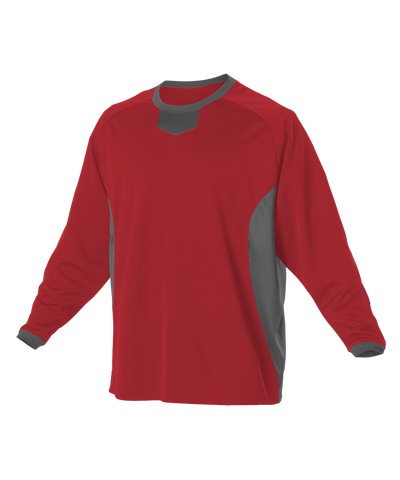 Alleson 598BBLY Youth Long Sleeve Practice Pullover Jersey - Scarlet Charcoal - Football - Hit A Double