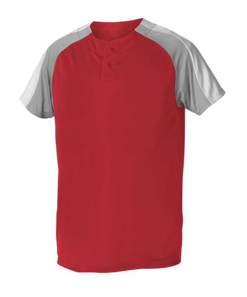 Alleson 5063CHY Youth 2 Button Henley Baseball Jersey - Scarlet Gray White - Baseball Apparel - Hit A Double