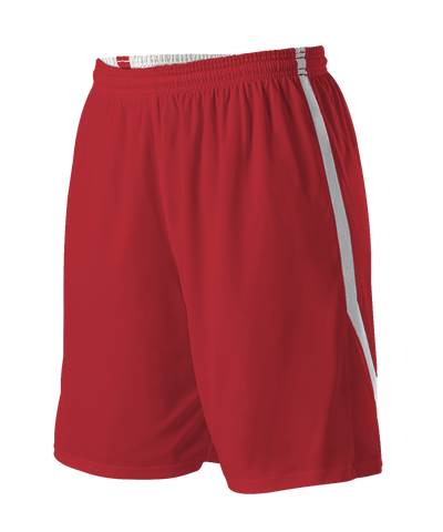 Alleson 531PRWY Girl's Reversible Basketball Short - Scarlet White - Basketball, Lacrosse/Field Hockey, Softball Apparel, Volleyball Apparel Girls, Training/Running - Hit A Double