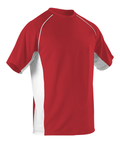 Alleson 506C1 Adult Baseball Jersey Crew Neck - Scarlet White