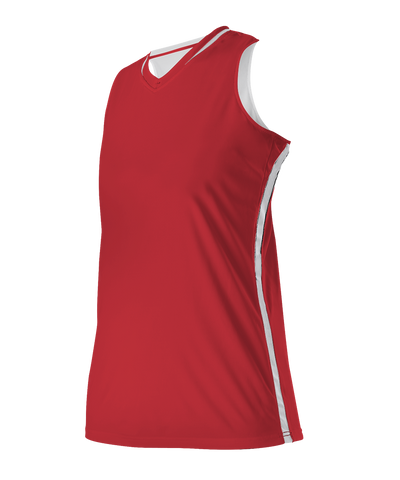 Alleson 531RWY Girl's Reversible Basketball Jersey - Scarlet White - Basketball - Hit A Double