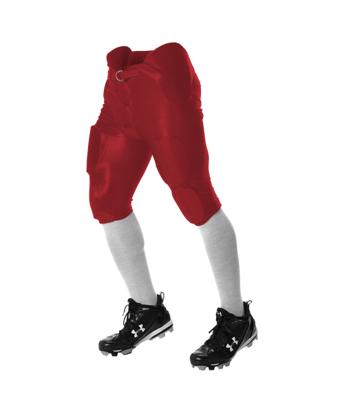 Alleson 681Y Youth Integrated Football Pant - Scarlet - Football - Hit A Double