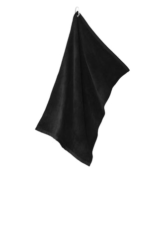 Port Authority TW530 Grommeted Microfiber Golf Towel - Black - HIT A Double
