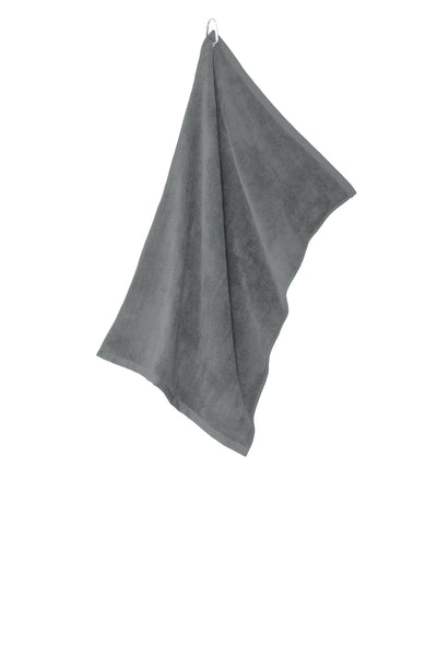 Port Authority TW530 Grommeted Microfiber Golf Towel - Deep Smoke - HIT A Double