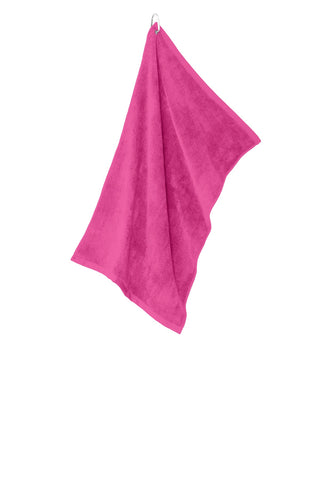 Port Authority TW530 Grommeted Microfiber Golf Towel - Pop Raspberry