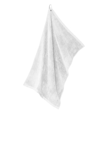 Port Authority TW530 Grommeted Microfiber Golf Towel - White