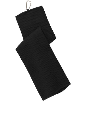 Port Authority TW60 Waffle Microfiber Golf Towel - Black - HIT A Double