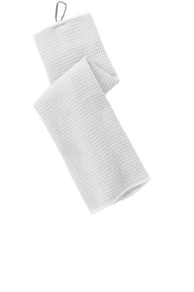 Port Authority TW60 Waffle Microfiber Golf Towel - White