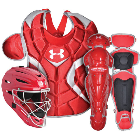 Under Armour PTH Victory Series UACK2-SRVS Senior 12-16 Yr Catcher's Kit - Scarlet - Catcher's Gear - Hit A Double - 1