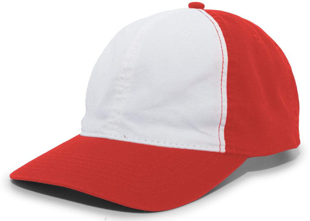 Pacific Headwear V57 Vintage Cotton Buckle Back Cap - Red White - HIT A Double