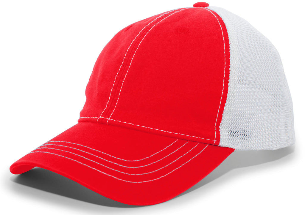 Pacific Headwear V67 Vintage Trucker Mesh Snapback Cap - Red White - HIT A Double