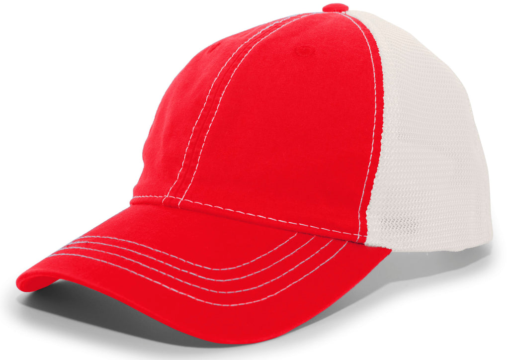 Pacific Headwear V67 Vintage Trucker Mesh Snapback Cap - Red Ivory - HIT A Double