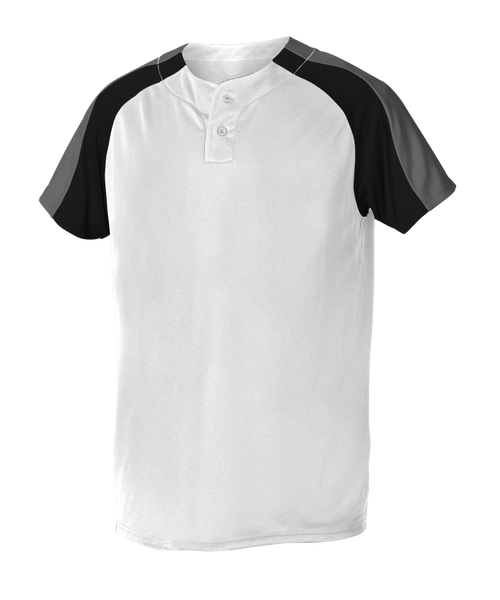 Alleson 5063CHY Youth 2 Button Henley Baseball Jersey - White Black Charcoal - Baseball Apparel - Hit A Double