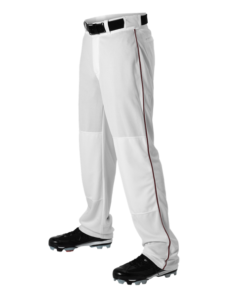 Alleson 605WLBY Youth Baseball Pant with Braid - White Maroon - Baseball Apparel - Hit A Double