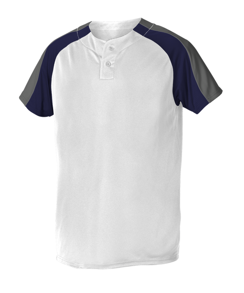 Alleson 5063CHY Youth 2 Button Henley Baseball Jersey - White Navy Charcoal - Baseball Apparel - Hit A Double