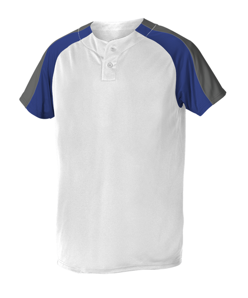 Alleson 5063CHY Youth 2 Button Henley Baseball Jersey - White Royal Charcoal - Baseball Apparel - Hit A Double