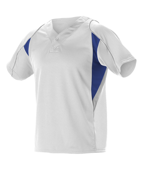 Alleson 529Y Youth 2 Button Henley Baseball Jersey - White Royal Gray - Baseball Apparel - Hit A Double