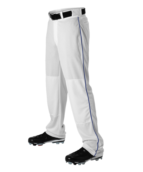 Alleson 605WLBY Youth Baseball Pant with Braid - White Royal - Baseball Apparel - Hit A Double