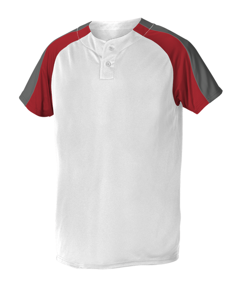 Alleson 5063CHY Youth 2 Button Henley Baseball Jersey - White Scarlet Charcoal - Baseball Apparel - Hit A Double