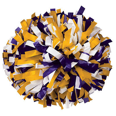 Pizzazz 3 Color Plastic Cheerleaders Poms - Purple Gold White