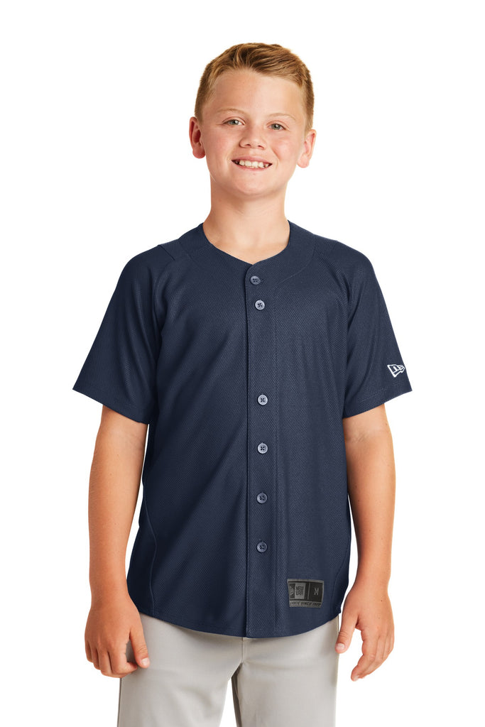 New Era YNEA220 Youth Diamond Era Full-Button Jersey - True Navy